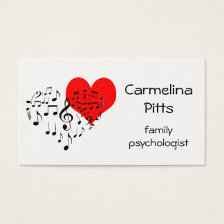 La música roja del corazón observa personalizable tarjeta de visita