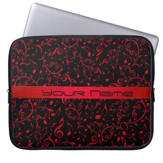 La música roja y negra observa el modelo funda para portátil