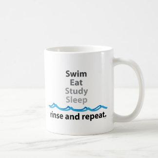 La nadada, come, estudia, duerme… aclaración y taza de café