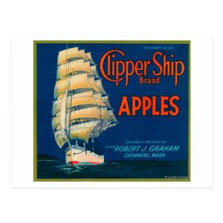 La nave de podadoras Apple etiqueta (verde) - la Postal