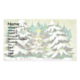 la nieve cayó en casa y el árbol de navidad tarjetas de visita