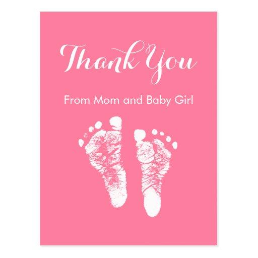 La niña le agradece las huellas recién nacidas ros postal