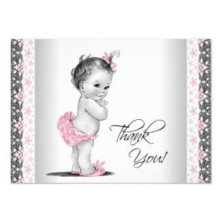La niña rosada del vintage le agradece invitación 11,4 x 15,8 cm