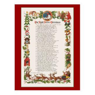 La noche antes del navidad adornó el poema postal