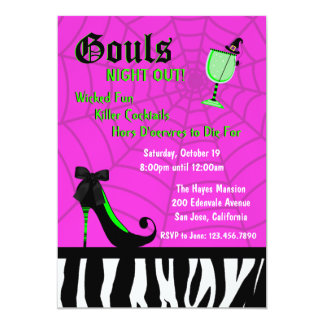La noche de Gouls hacia fuera invita [el rosa] Invitación 12,7 X 17,8 Cm