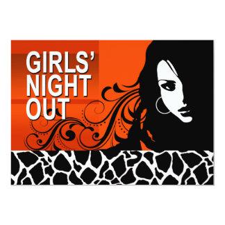 La noche fresca de los chicas hacia fuera va de invitación 12,7 x 17,8 cm