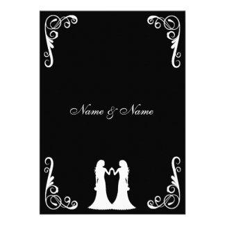 La novia y el boda lesbiano de la novia invitan