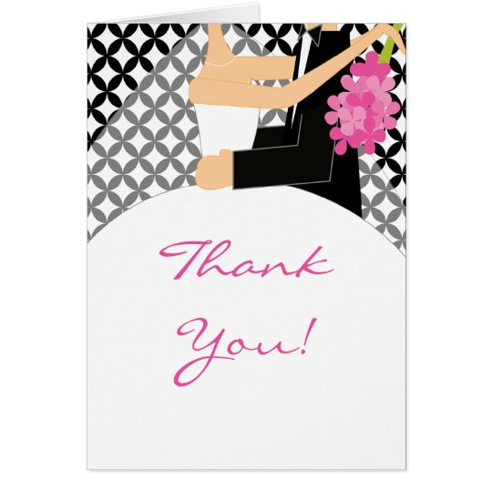 La novia y el novio negros y blancos le agradecen tarjeta pequeña