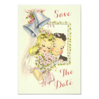 La novia y el novio retros caprichosos ahorran la invitación 8,9 x 12,7 cm