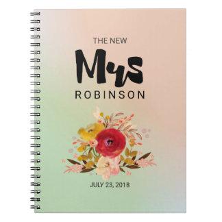 La nueva señora - boda floral del ramo de la cuaderno