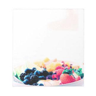 La nutrición del bocado de la comida de desayuno bloc de notas