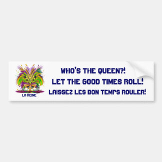 La opinión de la reina del carnaval observa por fa etiqueta de parachoque