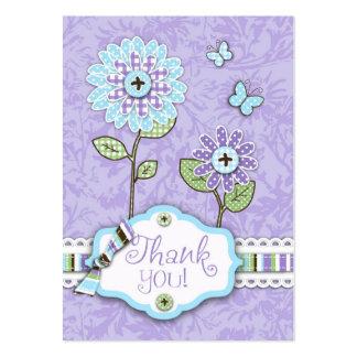 La organza florece la etiqueta del regalo del serv tarjetas de visita
