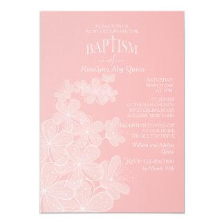 La organza florece la invitación del bautismo invitación 12,7 x 17,8 cm