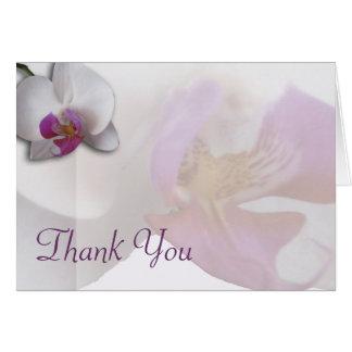 La orquídea rosada le agradece cardar tarjeta pequeña