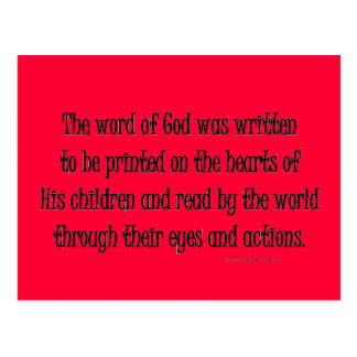 la palabra de dios fue escrita tarjeta postal