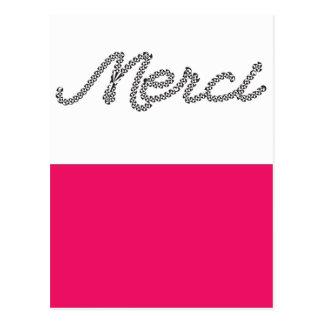 La palabra francesa de Merci le agradece el boda Postal