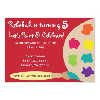 La paleta del fiesta del arte invita - a rojo invitación 12,7 x 17,8 cm