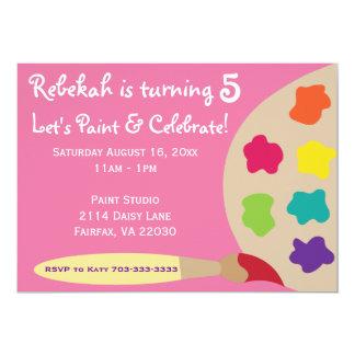 La paleta del fiesta del arte invita - a rosa invitación 12,7 x 17,8 cm