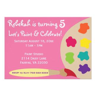 La paleta del fiesta del arte invita - a rosa invitacion personalizada
