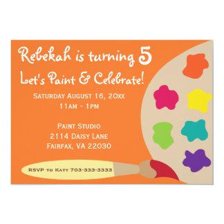La paleta del fiesta del arte invita - al naranja invitación 12,7 x 17,8 cm