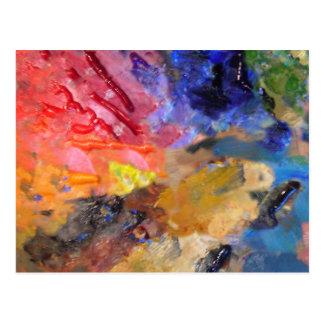 La paleta del pintor de pinturas coloridas postal
