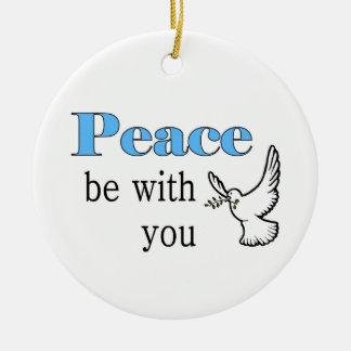 La paloma de la paz, paz esté con usted adorno navideño redondo de cerámica