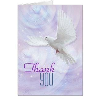 La paloma religiosa de la confirmación le agradece tarjeta pequeña