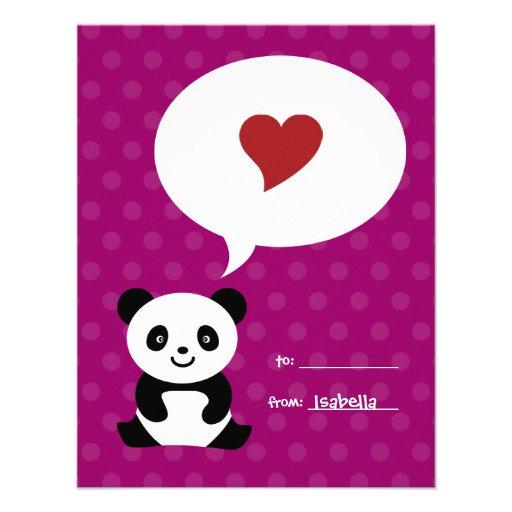 La panda del amor embroma la tarjeta de la tarjeta invitaciones personalizada