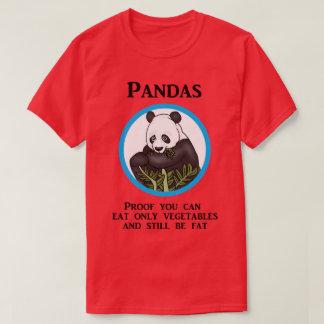 La panda gorda divertida, verduras no trabaja camiseta