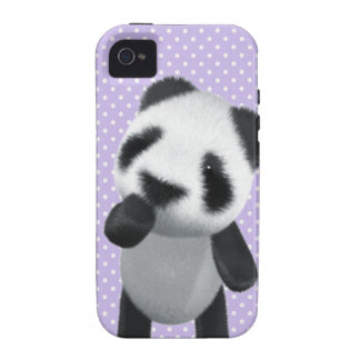 La panda linda 3d piensa (editable) vibe iPhone 4 carcasa