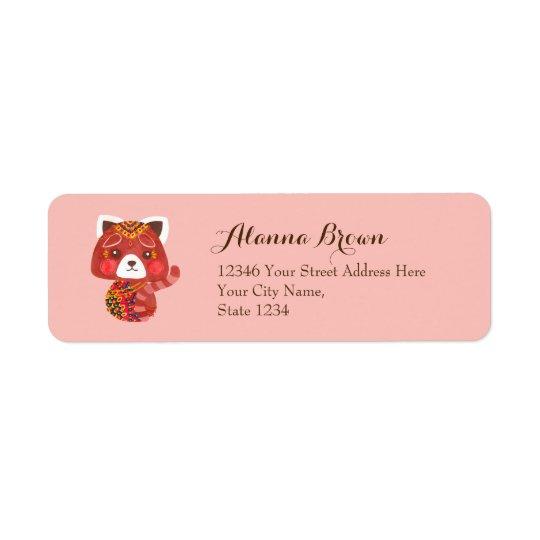 La panda roja linda etiquetas de remite