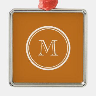 La parte alta ocre coloreó personalizado adorno navideño cuadrado de metal