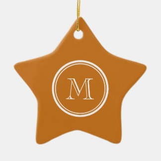 La parte alta ocre coloreó personalizado adorno navideño de cerámica en forma de estrella