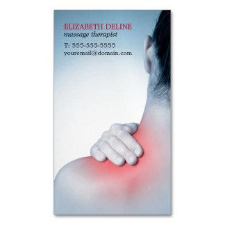 La parte posterior del masaje de la mujer elegante tarjeta de visita magnética