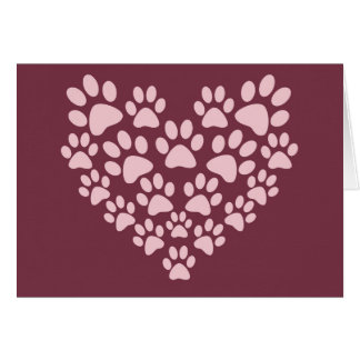La pata animal rosada imprime diseño del corazón tarjeton