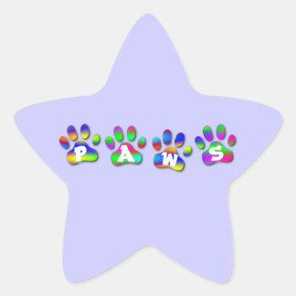 La pata del color del arco iris imprime el calcomanía forma de estrellae