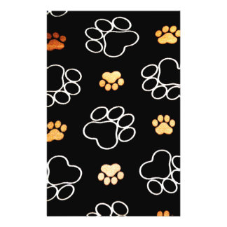 La pata del perrito del perro imprime negro y el folleto 14 x 21,6 cm