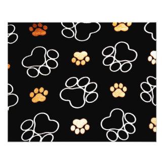 La pata del perrito del perro imprime negro y el folleto 11,4 x 14,2 cm