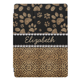 La pata del punto del leopardo imprime diamantes cubierta para iPad pro