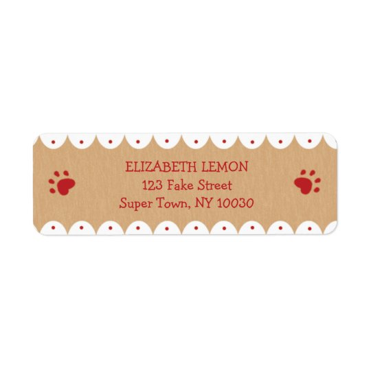 La pata roja imprime pequeñas etiquetas de etiqueta de remite