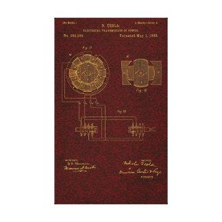 La patente 00382280 Sht 4 de Tesla estiró la impre Impresión En Lienzo