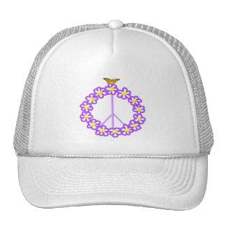 La paz florece el gorra de la mariposa