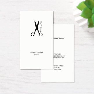 La peluquería de caballeros scissors blanco y tarjeta de negocios