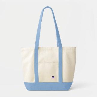 La pequeña bolsa de asas blanca azul del monograma