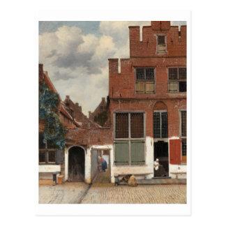 La pequeña calle de Juan Vermeer Postal