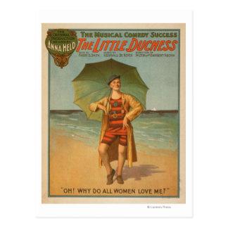 """""""La pequeña duquesa"""" hombre en Musical de la playa Tarjeta Postal"""