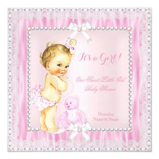 La pequeña fiesta de bienvenida al bebé rubia invitación 13,3 cm x 13,3cm