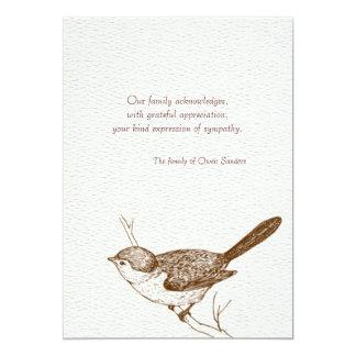 La pérdida del pájaro de Brown le agradece las Invitación 12,7 X 17,8 Cm