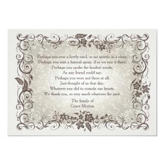 La pérdida floral de la conmemoración le agradece invitación 12,7 x 17,8 cm